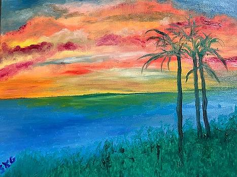 Sunset with Palm Trees by Susan Grunin