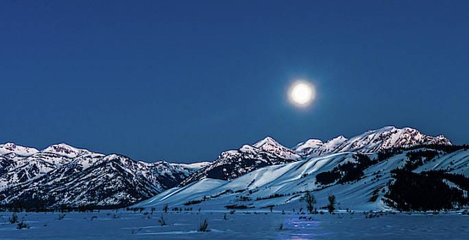 Super Moon Setting Over the Tetons by Barbara Hayton