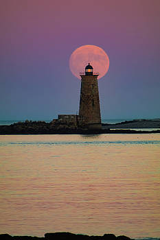 Supermoon over Maine Lighthouse by Jeff Folger