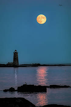 Supermoon rises over WhaleBack a Maine Lighthouse-Digital Art by Jeff Folger
