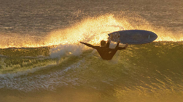 Surfing Gold Delray Beach Florida by Lawrence S Richardson Jr
