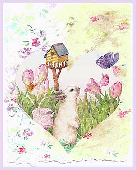 Sweet Heart Bunny and Butterfly by Judith Cheng