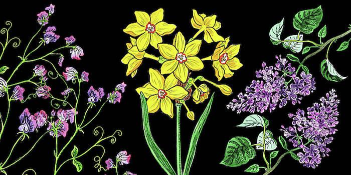 Sweet Pea Daffodil And Lilac Flowers  by Irina Sztukowski