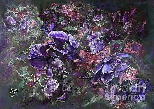 Sweet peas in the artist's garden by evening. by Ryn Shell