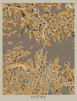 Sydney Map Retro 4 by Bekim M