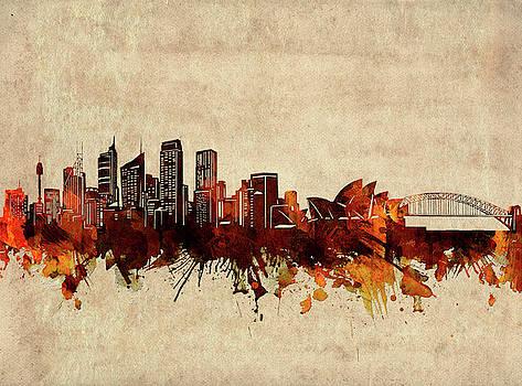 Sydney Skyline Sepia by Bekim Art