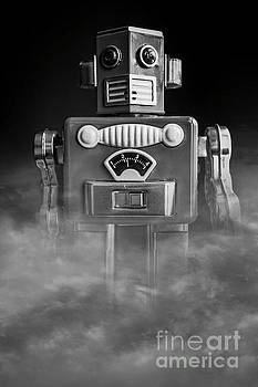 Take Me To Your Leader Vintage Tin Toy Robot Black and white by Edward Fielding