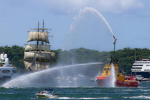 Tall Ship And Tug Boat Ballet by Miroslava Jurcik