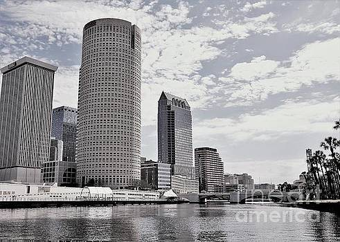 Diann Fisher - Tampa From The River In BW