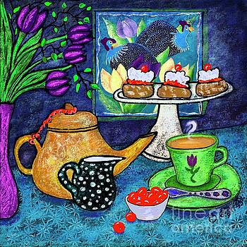 Tea and Scones with Cherries by Caroline Street