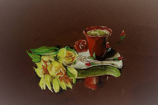 Tea cup with flowers. by Khalid Saeed