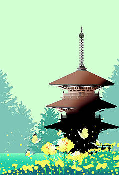 Temple of flowering forest by Ryuji Kawano
