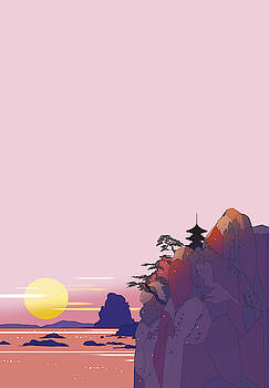Temple of sunset by Ryuji Kawano