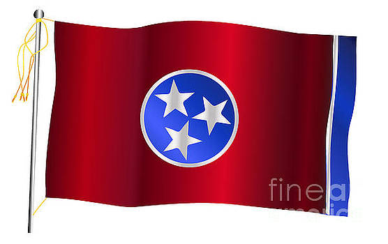 Tennessee State Waving Flag And Flagpole by Bigalbaloo Stock