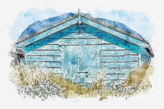 The Blue Beach Hut by John Edwards