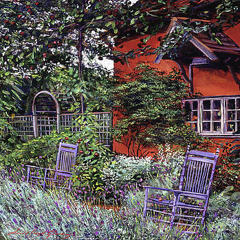 The Blue Garden Chairs by David Lloyd Glover