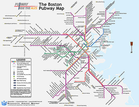 The Boston Pubway Map IV by Unquestionable Taste
