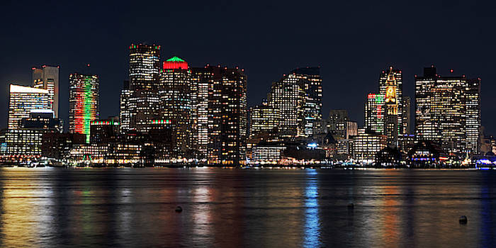 Toby McGuire - The Boston Skyline lit up for Christmas Boston MA East Boston Panorama