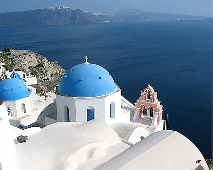 The Churches and Ocean of Santorini by Keiko Richter