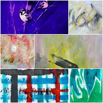 The collage of Abstract Paintings by Lisa Kaiser