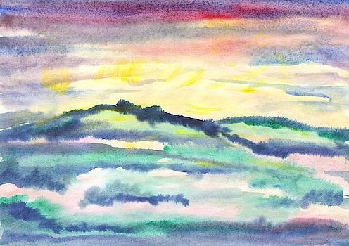 The dawn shines in the misty hills by Irina Dobrotsvet