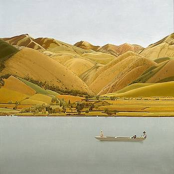 The Edge Of The Abruzzi - Boat With Three People On A Lake by Winifred Knights