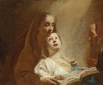 Attributed to Giovanni Battista Piazzetta - The Education of the Virgin