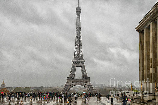 Wayne Moran -  The Eiffel Tower Paris France Cloudy Day Moody Skies