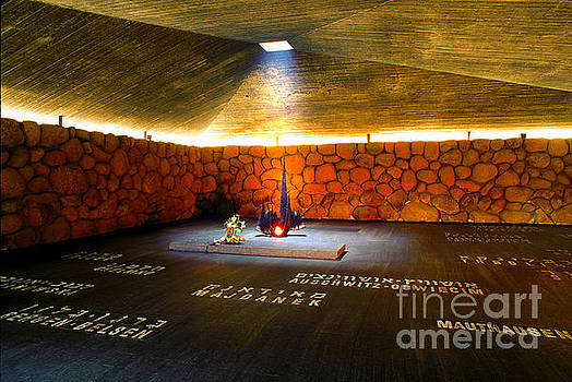 The Eternal Flame at the Hall of Remembrance, Yad Vashem, Israel by Wernher Krutein