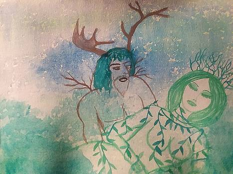 The Horned One Discovers the Sleeping Goddess  by Vale Anoa'i