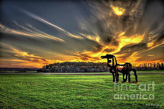 The Iron Horse Sunset 777 U G A Farming Landscape Art by Reid Callaway