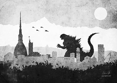 Andrea Gatti - Godzilla Turin greyscale
