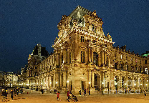 Wayne Moran - The Louvre Paris France at Night Architecture