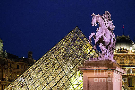 Wayne Moran - The Louvre Paris France The Pyramid at Night Architecture