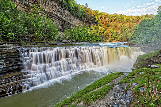 The Lower Falls At Letchworth State Park by Jim Vallee