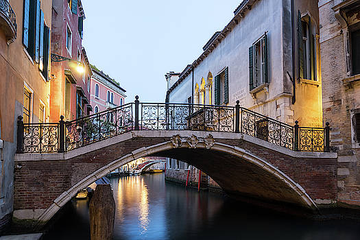 The Magic of Small Canals in Venice Italy - Beneath a Charismatic Wrought Iron Bridge by Georgia Mizuleva