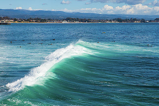 The Magical Huge Waves In The Bay Of Santa Cruz Make This A Surf by Kim Vermaat