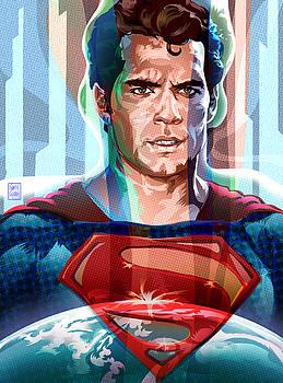 Superman Pop Art Portrait by Garth Glazier