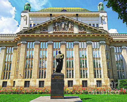 The National And University Library At Marulich Square Zagreb Croatia by Jasna Dragun