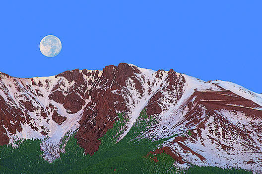 The Orb Of Night Is About To Disappear Behind Pikes Peak, Colorado, 14115 Feet, 4302 Meters  by Bijan Pirnia
