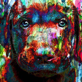 The Painted Puppy HUGE 48x48 CANVAS OR PAPER by Robert R Splashy Art Abstract Paintings