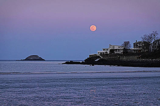 Toby McGuire - The Super Worm Moon 2019 over Egg Rock in Nahant MA Beach