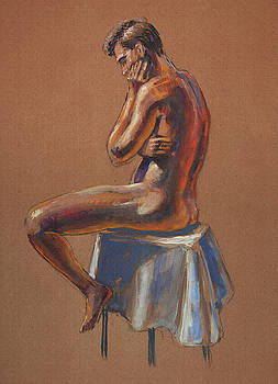 Irina Sztukowski - The Thinker Male Model Study In Gouache