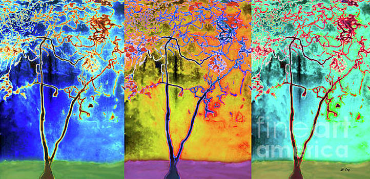 Sharon Williams Eng - The Tree Abstract Seasons Triptych 300