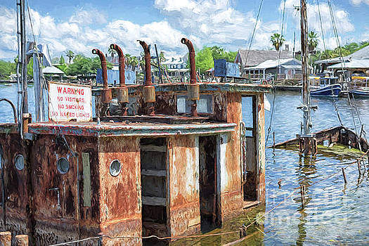 The Sunken Tugboat Fine Art Photography - Digital Painting by Mary Lou Chmura by Mary Lou Chmura