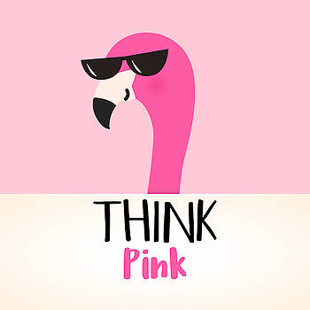 Think Pink - Baby Room Nursery Art Poster Print by Dadada Shop