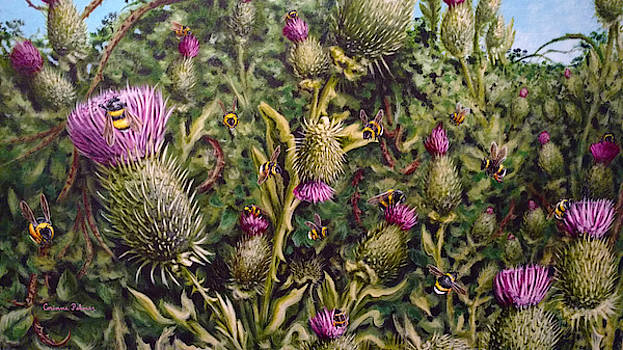 Thistles Brambles and Bees detail by Corinne Palmer