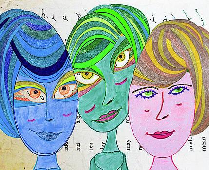 Three Girls - Shorthand - Vintage by Marie Jamieson