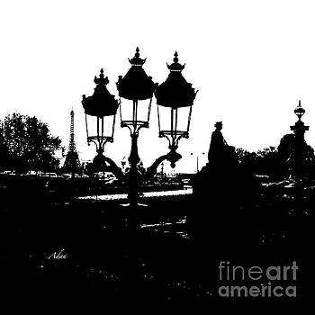 Felipe Adan Lerma - Three Lamps To The Eiffel Tower Paris BW Square