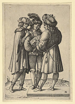 Attributed to Luca Ciamberlano - Three male singers standing together holding a sheet of music